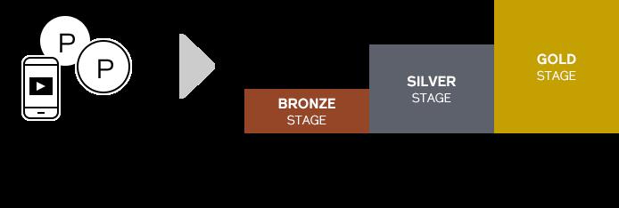 動画視聴などのブランド体験によって体験ポイントを付与 → 年間累計実績でステージが決定。ステージアップによって受けられるサービスが充実
